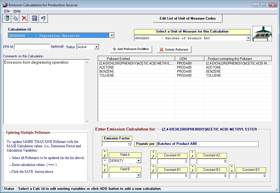 Edit Emission Calculation Data (Production or Custom Calculations)